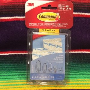 3M  COMMAND CLEAR ASSORTED REFILL STRIPS. 16 PACK